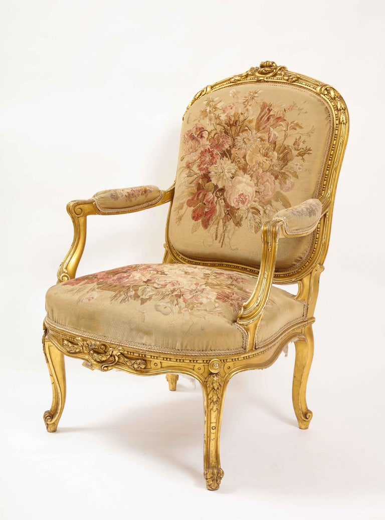 An Antique French 19th C. 5 Piece Royal Giltwood & Aubusson Suite, Att. Linke In Good Condition For Sale In New York, NY