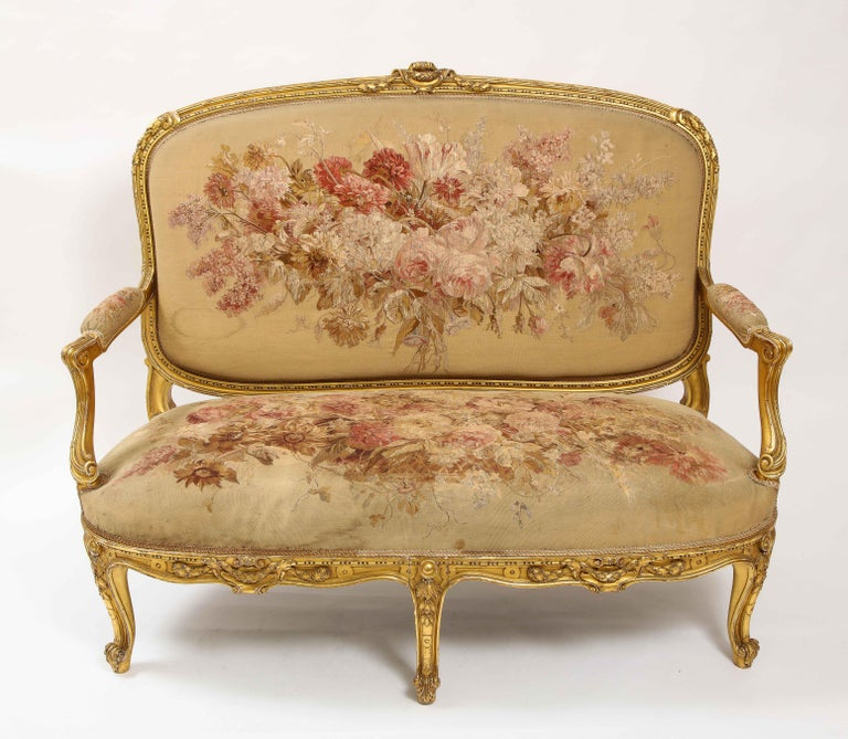 Silk An Antique French 19th C. 5 Piece Royal Giltwood & Aubusson Suite, Att. Linke For Sale