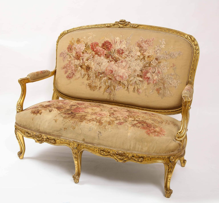 An Antique French 19th C. 5 Piece Royal Giltwood & Aubusson Suite, Att. Linke For Sale 1