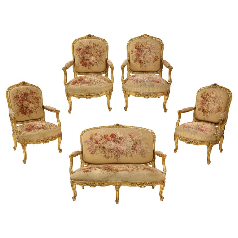 An Antique French 19th C. 5 Piece Royal Giltwood & Aubusson Suite, Att. Linke For Sale