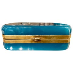 Antique French Blue Opaline Glass Casket Having a Hinged Doré Bronze Band
