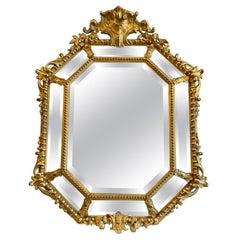 Antique French Gilt Cushion Mirror