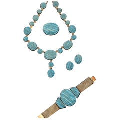 Antique Gold and Turquoise Set, Circa 1860