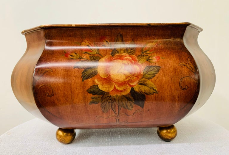 Antique Hand Painted Brown Metal Chest or Box with Floral Design  For Sale 4