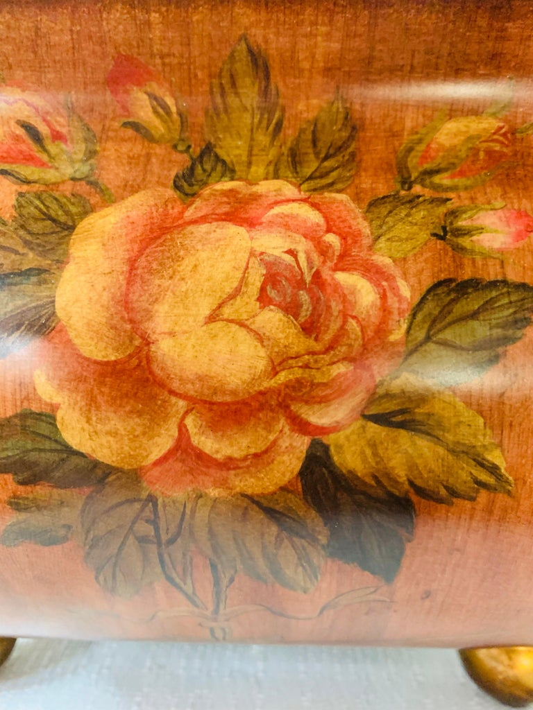 Antique Hand Painted Brown Metal Chest or Box with Floral Design  For Sale 7