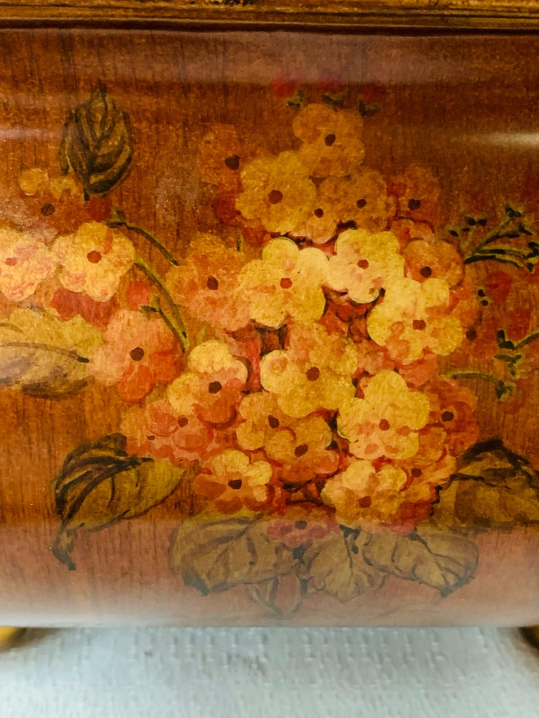 Antique Hand Painted Brown Metal Chest or Box with Floral Design  For Sale 2