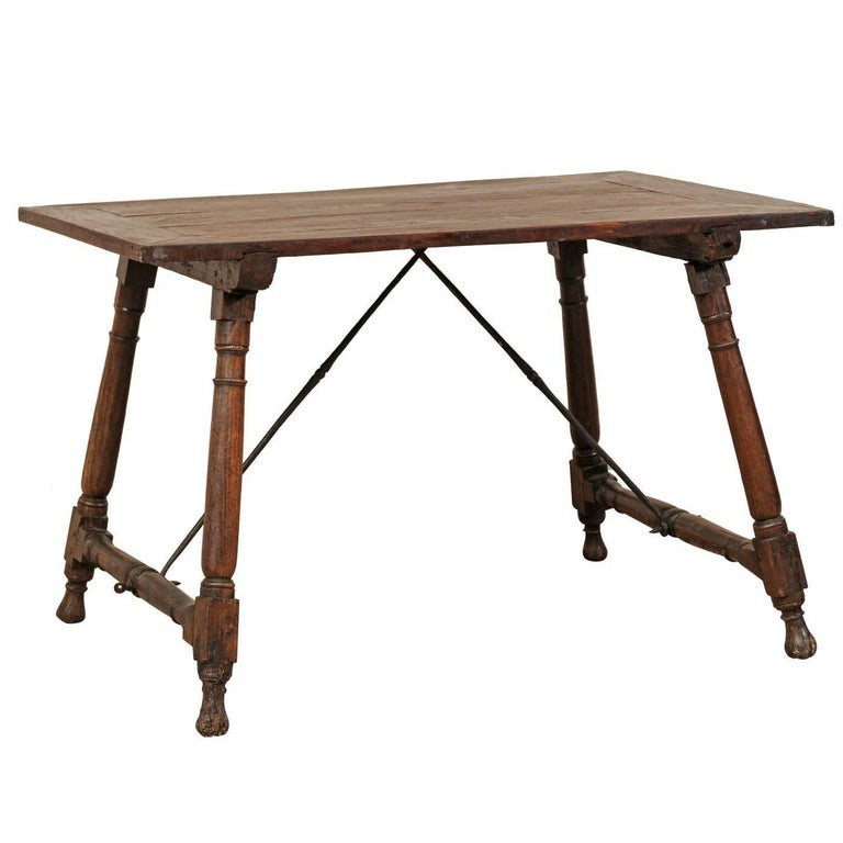 Antique Italian Wood and Iron Stretchered Table or Desk from Late 18th Century