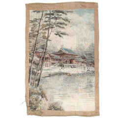 Antique Japanese Woven Wall Tapestry Rug Painting of Pagoda on Lake, circa 1880