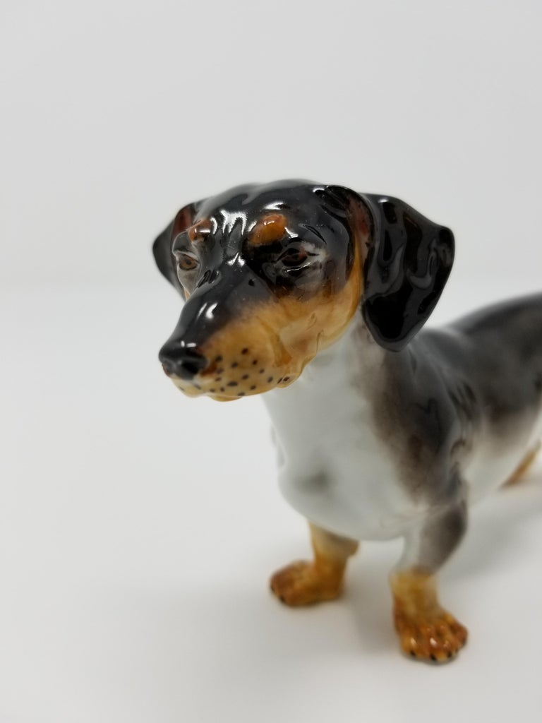 German Antique Meissen Porcelain Figure of a Dachshund Dog For Sale