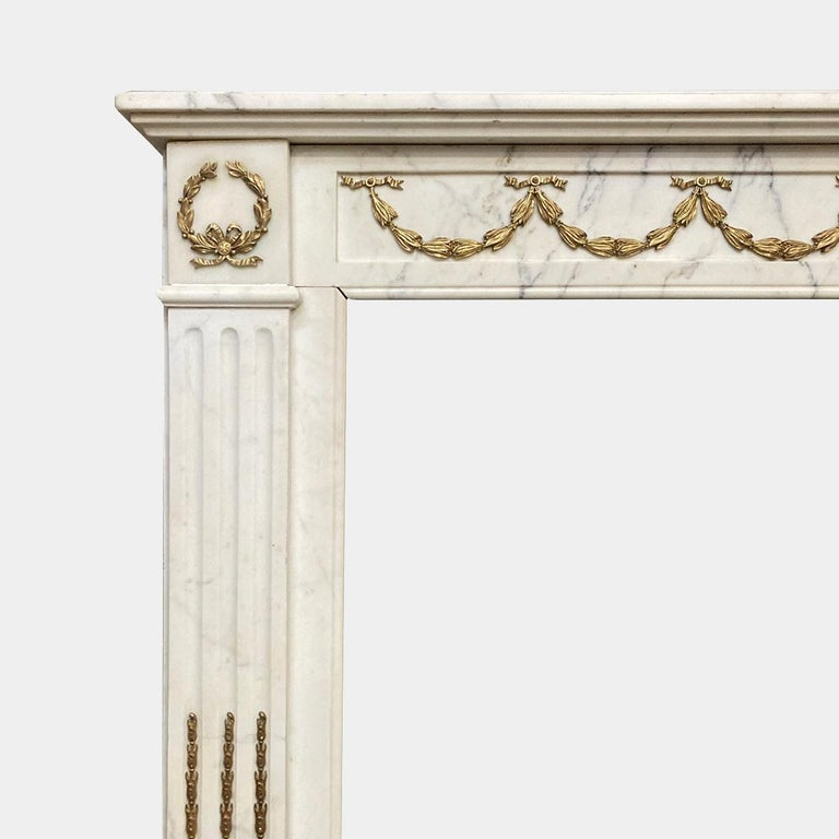 18th Century Antique Statuary White Marble French Louis XVI Style Fireplace Mantel  For Sale
