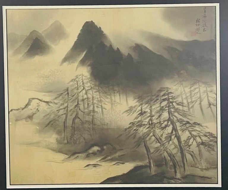 Japonisme Antique Sumi Ink Japanese Painting on Silk, Framed  For Sale