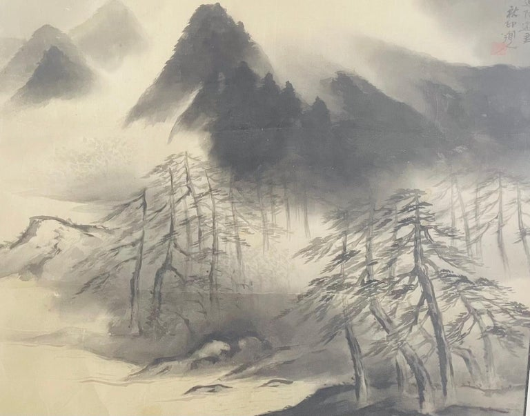 Antique Sumi Ink Japanese Painting on Silk, Framed  For Sale 4