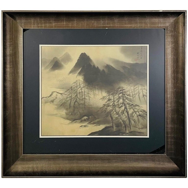Antique Sumi Ink Japanese Painting on Silk, Framed  For Sale