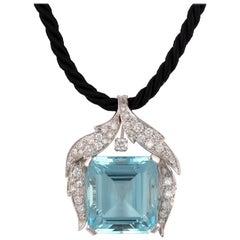 Aquamarine and Diamond Pendant, circa 1950