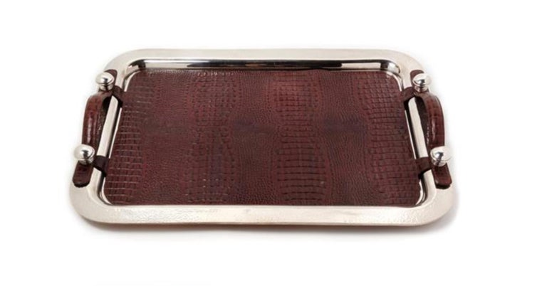 Argentine Silver-Plate and Leather Serving Tray, Plata Lappas, Buenos Aires In Excellent Condition For Sale In Buchanan, MI