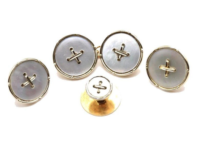 Men's Art Deco 18 Kt White Gold and 9 Kt Yellow Gold and Pearl Tuxedo Dress Set For Sale
