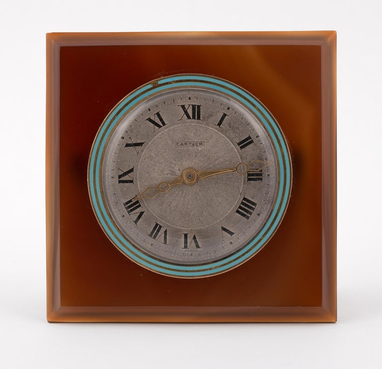 Uncut Art Deco Agate and Enamel Desk Clock by Cartier, circa 1920 For Sale