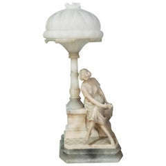Art Deco Alabaster Domed Table Lamp Depicting a Seated Lady at a Street Lamp
