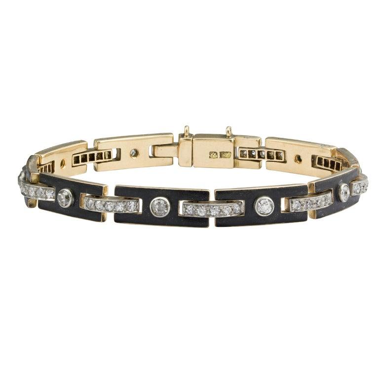 Women's or Men's Art Deco Black Enamel and Diamond Bracelet For Sale