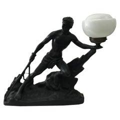 Art Deco Black French Table Lamp, circa 1930