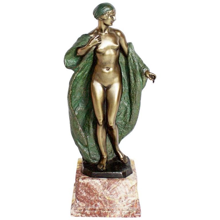 Art Deco Bronze Sculpture by Joé Descomps, French, circa 1925 For Sale