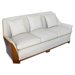 Art Deco Burr Walnut Wrapped Sofa Re-Upholstered in Cream Leather