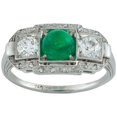 Art Deco Cabochon Emerald and Diamond Ring