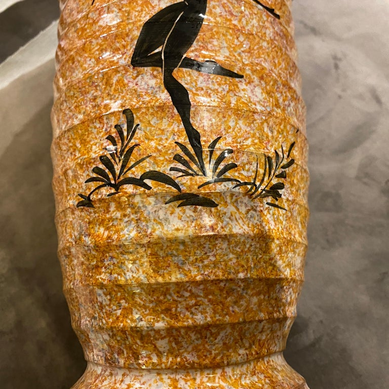 Art Deco Orange and Black Ceramic Italian Vase, 1930s For Sale 1