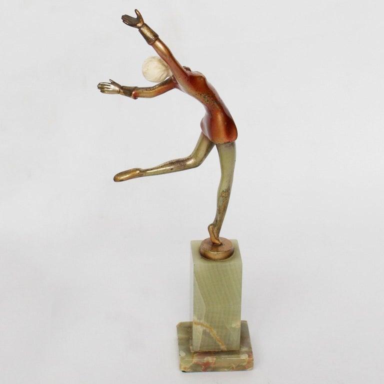Mid-20th Century Art Deco Cold Painted Bronze Dancer by Josef Lorenzl, Austrian, circa 1930 For Sale