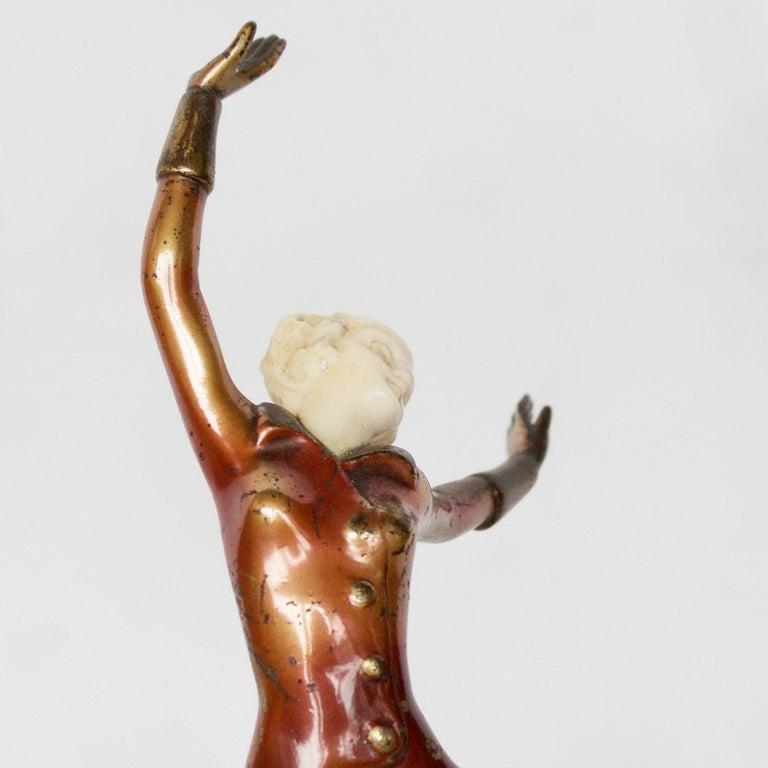 Art Deco Cold Painted Bronze Dancer by Josef Lorenzl, Austrian, circa 1930 For Sale 1