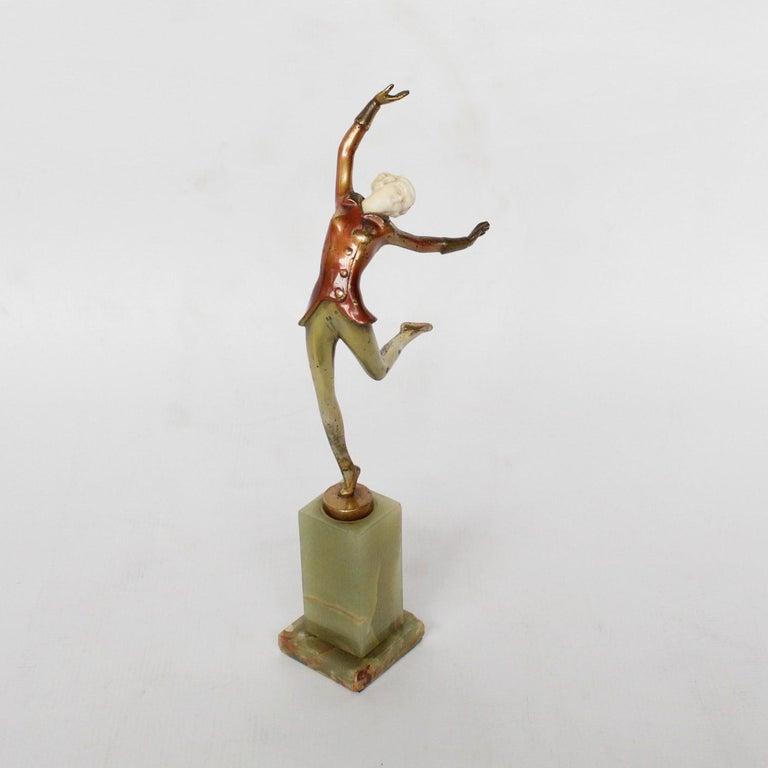 Art Deco Cold Painted Bronze Dancer by Josef Lorenzl, Austrian, circa 1930 For Sale 2
