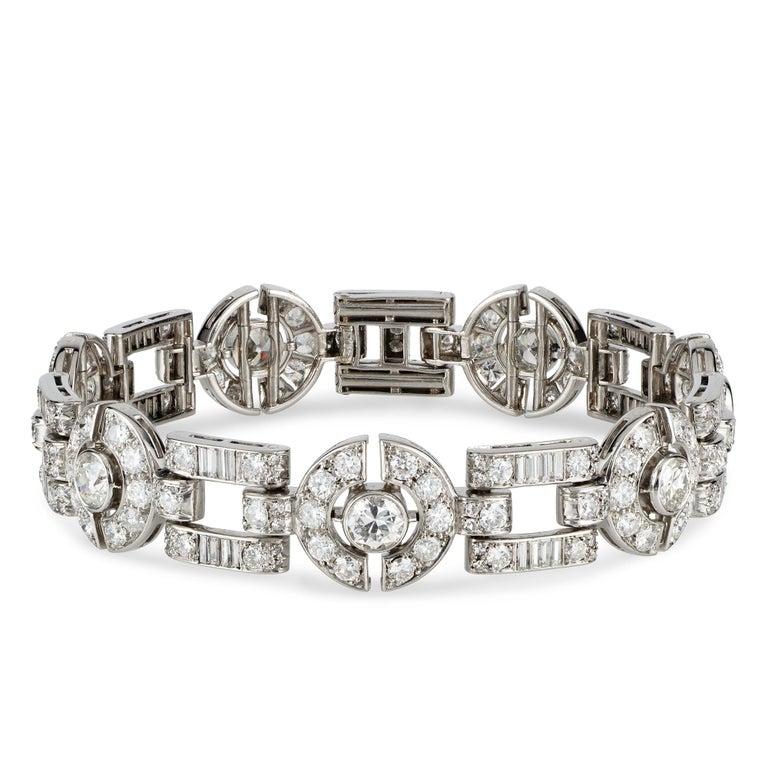 Old European Cut Art Deco Diamond Bracelet For Sale