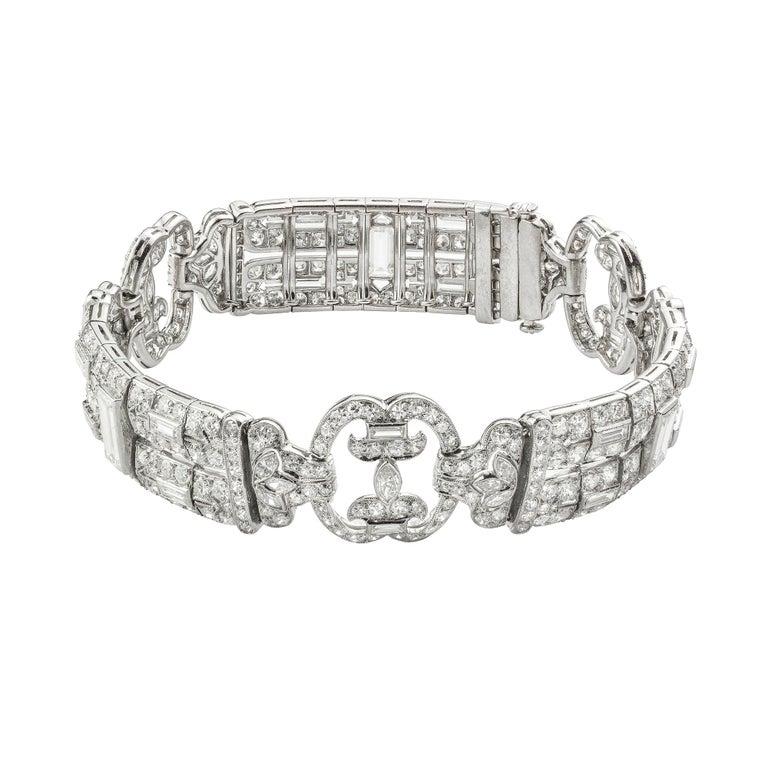 Women's or Men's Art Deco Diamond Bracelet For Sale