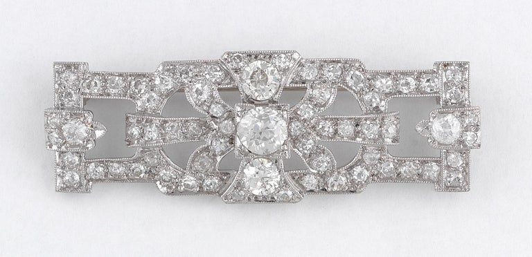 Art Deco Diamond Brooch, circa 1930 In Excellent Condition For Sale In Firenze, IT
