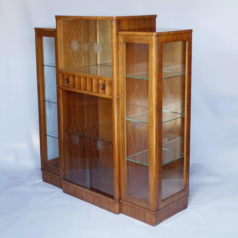 Glass Art Deco Display Cabinet English, Circa 1935 For Sale