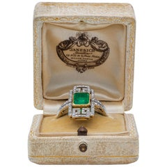 Art Deco Emerald and Diamond Plaque Ring