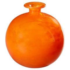 Art Deco Flame Orange Art Glass Vase by Charles Schneider, French, Signed