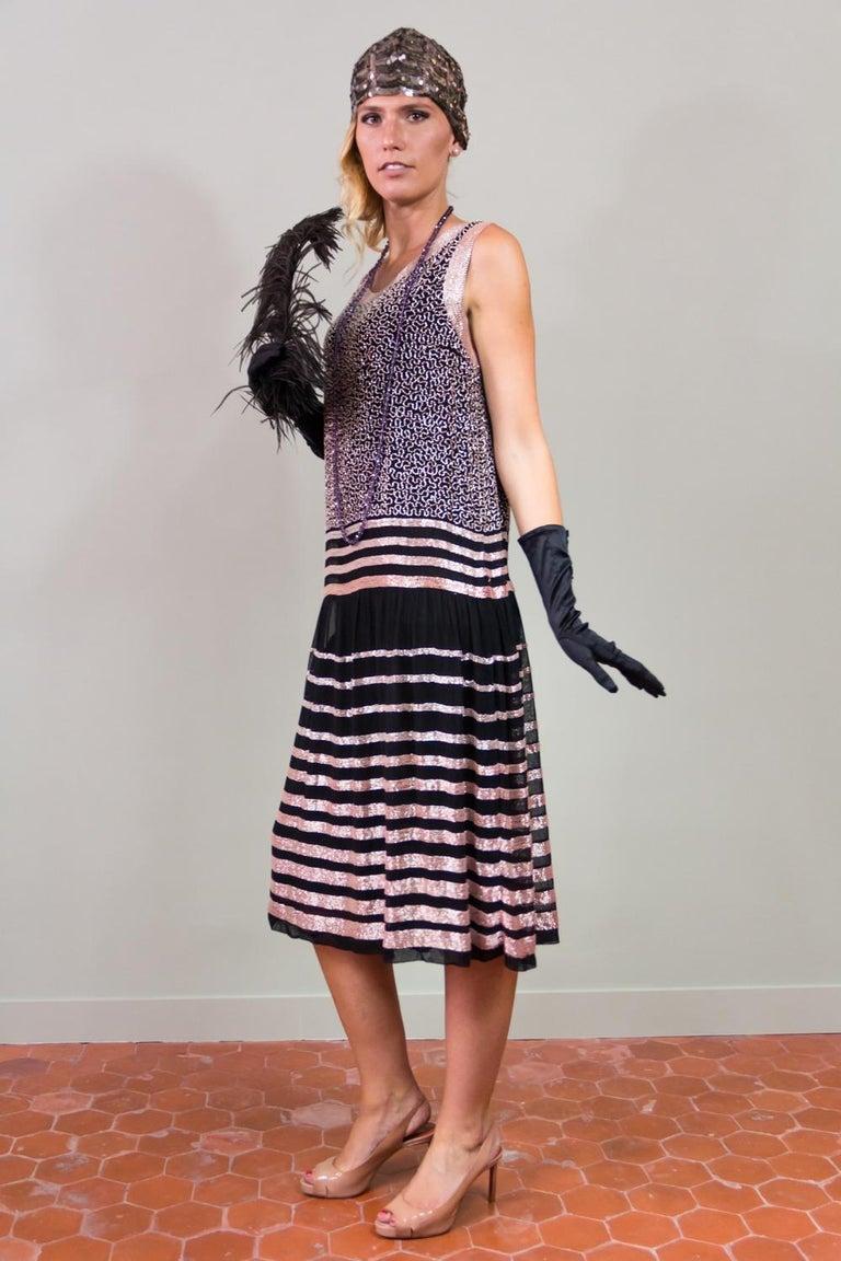 Black An Art Deco Flapper Dress for Ball Paris Circa 1927 For Sale