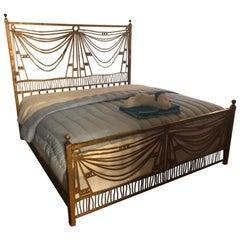 Art Deco Gilt Metal Tassel Chain Form King Sized Bed-Frame