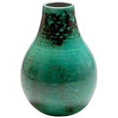 Art Deco Green Craquelled Ceramic Vase by Primavera