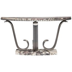 Art Deco Iron and Marble Console Table by Paul Deramaut, circa 1930
