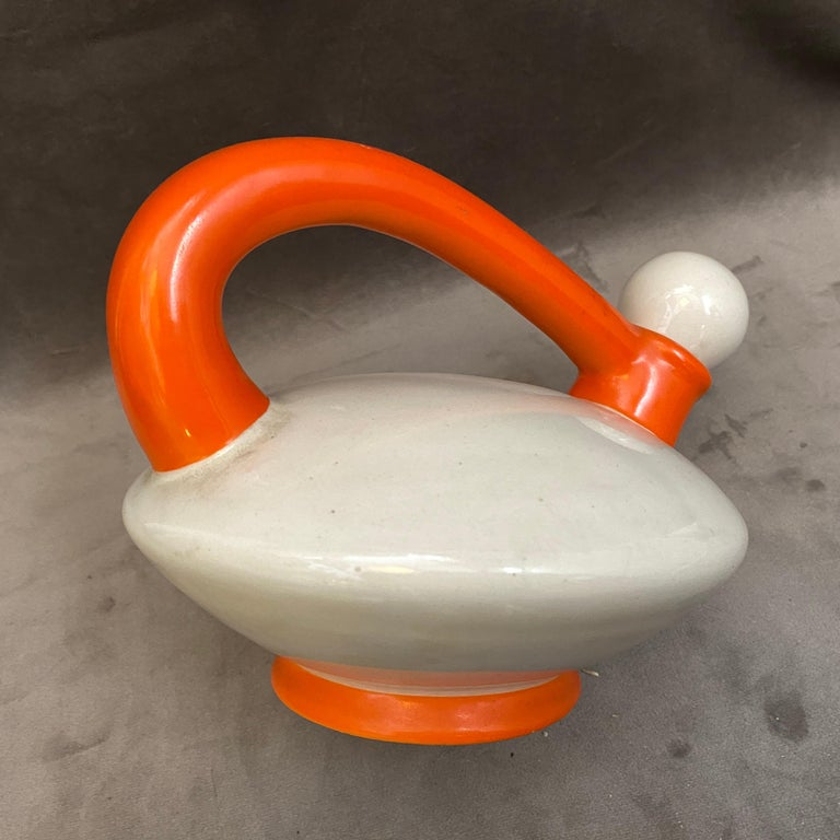 Hand-Crafted Art Deco Italian Futurism Orange and White Ceramic Teapot by Rometti