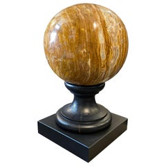 Art Deco Italian Marble Sphere on a Black Wood Base, c. 1930