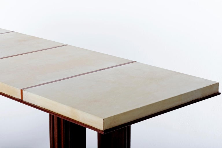 Art Deco Mahohany and Velum Console Table, by Gauthier-Poinsignon 8