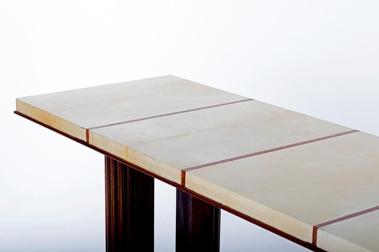 Art Deco Mahohany and Velum Console Table, by Gauthier-Poinsignon 9