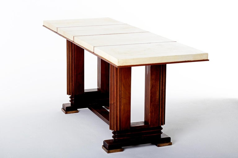 French Art Deco Mahohany and Velum Console Table, by Gauthier-Poinsignon