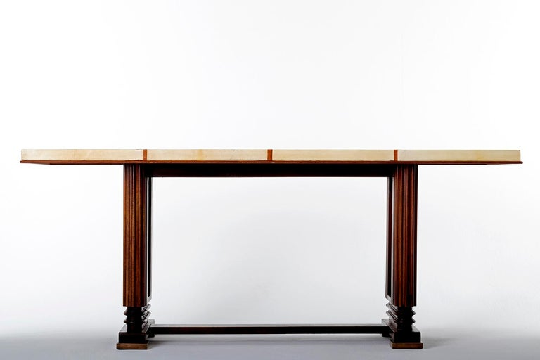 Art Deco Mahohany and Velum Console Table, by Gauthier-Poinsignon In Good Condition In London, GB