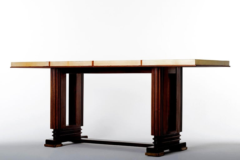 20th Century Art Deco Mahohany and Velum Console Table, by Gauthier-Poinsignon