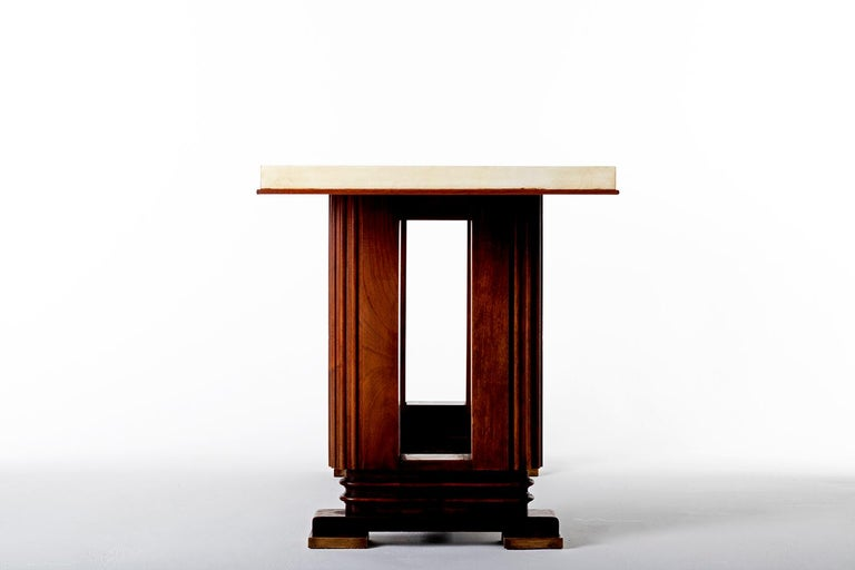 Leather Art Deco Mahohany and Velum Console Table, by Gauthier-Poinsignon