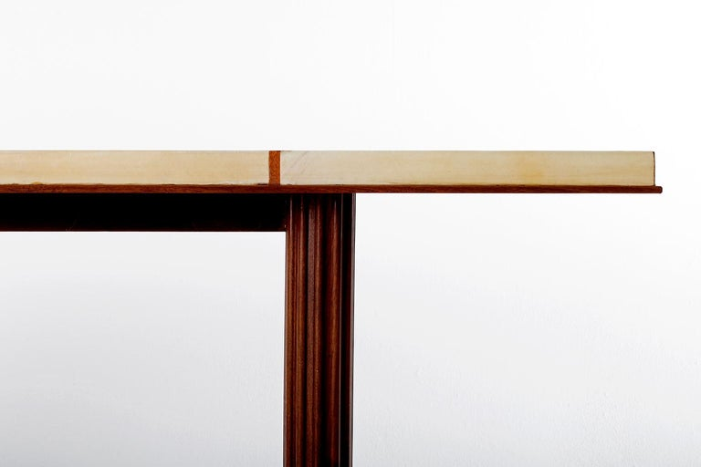 Art Deco Mahohany and Velum Console Table, by Gauthier-Poinsignon 1